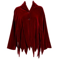 1987 Romeo Gigli Museum-Held Burgundy Red Velvet Jester Petal Swing Coat Jacket