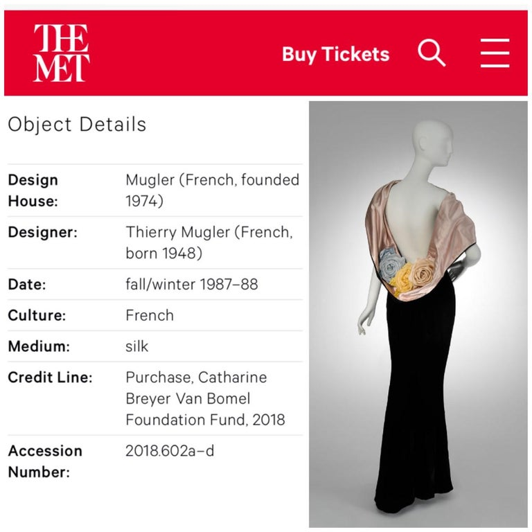 Vintage 1987 Thierry Mugler Museum-Held Velvet & Satin Bias-Cut Backless Gown For Sale 4