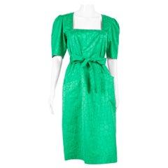 1987s Yves Saint Laurent Green Cotton Dress