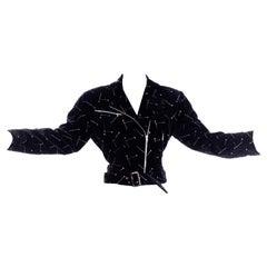 1988 Avant Garde Patrick Kelly Paris Vintage Black Jacket w Gold & SIlver Nails