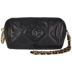 1988 Chanel Black Lambskin Vintage Timeless Charm Pochette