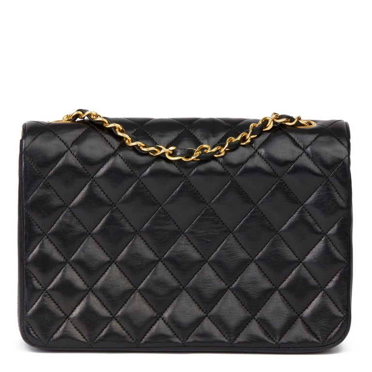 1988 Chanel Black Quilted Lambskin Vintage Classic Single Flap Bag 1
