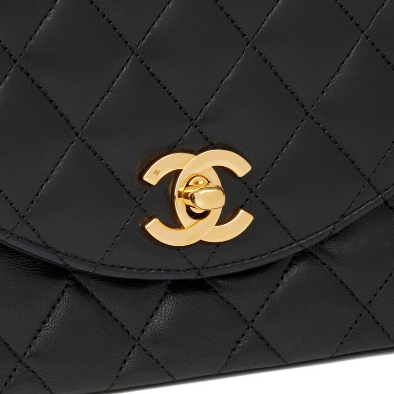 1988 Chanel Black Quilted Lambskin Vintage Classic Single Flap Bag 3