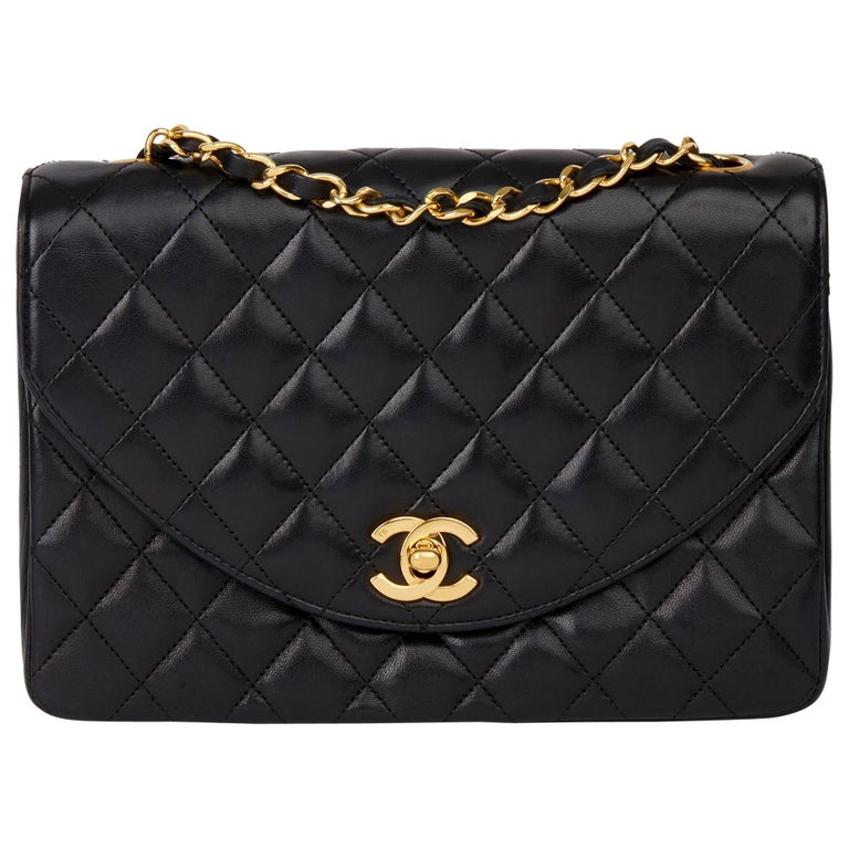 1988 Chanel Black Quilted Lambskin Vintage Classic Single Flap Bag