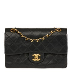 1988 Chanel Black Quilted Lambskin Vintage Small Classic Double Flap Bag