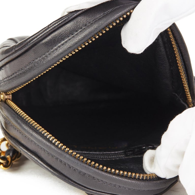 1988 Chanel Black Quilted Lambskin Vintage Timeless Charm Wristlet  For Sale 7