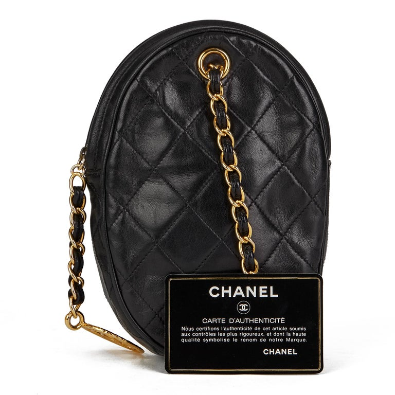 1988 Chanel Black Quilted Lambskin Vintage Timeless Charm Wristlet  For Sale 8