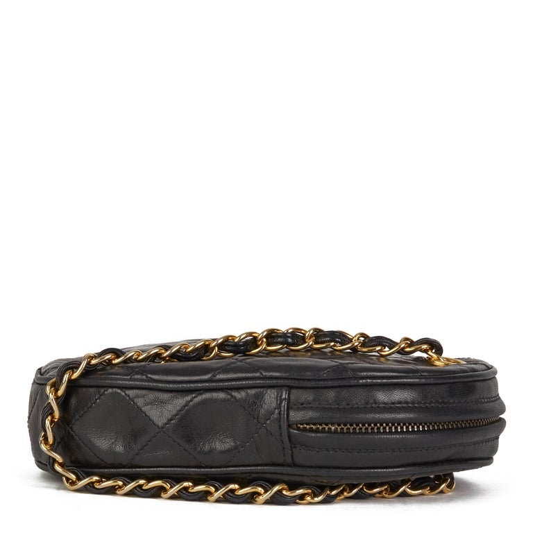 Women's 1988 Chanel Black Quilted Lambskin Vintage Timeless Charm Wristlet  For Sale