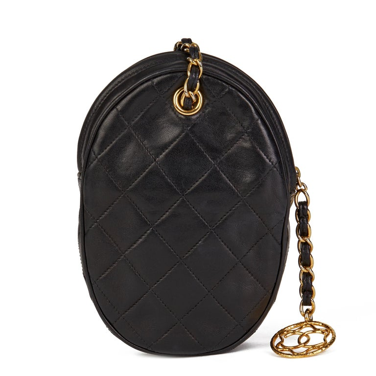 1988 Chanel Black Quilted Lambskin Vintage Timeless Charm Wristlet  For Sale 1