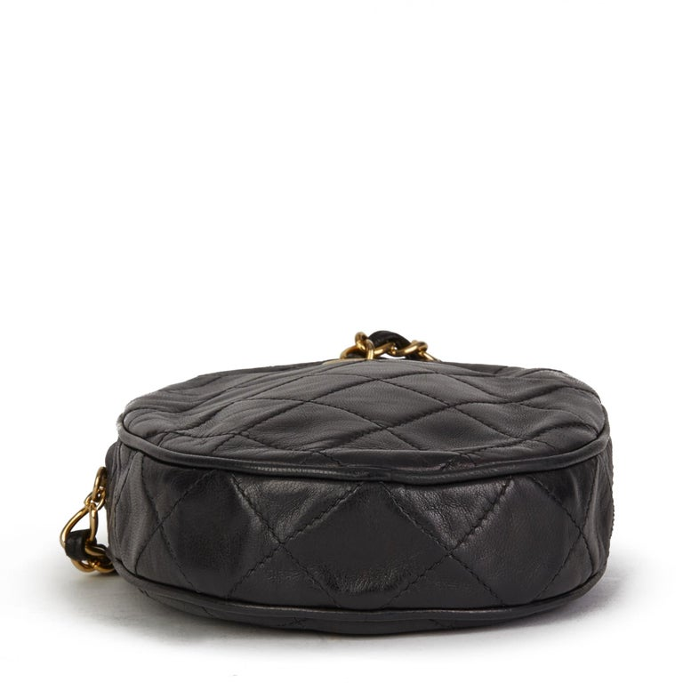 1988 Chanel Black Quilted Lambskin Vintage Timeless Charm Wristlet  For Sale 2