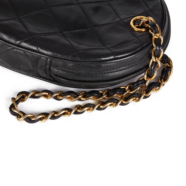 1988 Chanel Black Quilted Lambskin Vintage Timeless Charm Wristlet  For Sale 3