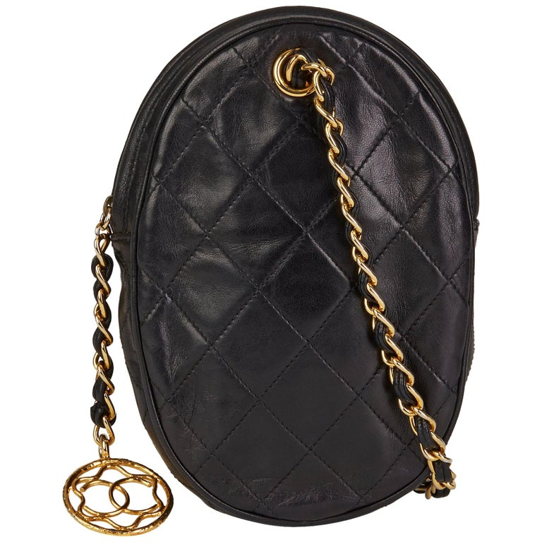 1988 Chanel Black Quilted Lambskin Vintage Timeless Charm Wristlet  For Sale