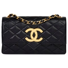 1988 Chanel Black Quilted Lambskin Vintage XL Classic Single Flap Bag