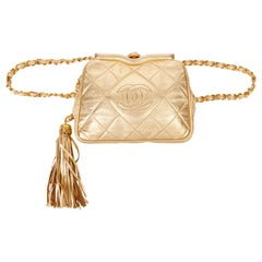 1988 Chanel Gold Quilted Metallic Lambskin Vintage Timeless Belt Bag