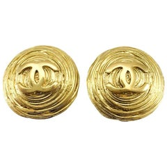 1988 Chanel Large Gold-Plated Textured Round Logo Earrings