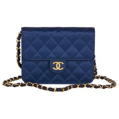 1988 Chanel Navy Quilted Satin Vintage Mini Flap Bag
