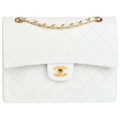 1988 Chanel White Quilted Lambskin Vintage Medium Tall Classic Double Flap Bag