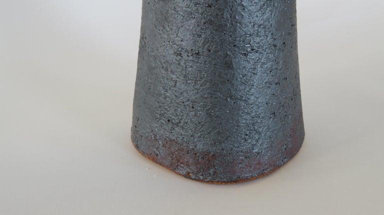 Tubular Metallic Black Stoneware Vase, Rough Fluted Rim For Sale 2
