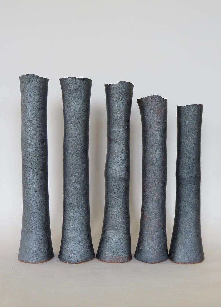 Tubular Metallic Black Stoneware Vase, Rough Fluted Rim For Sale 7