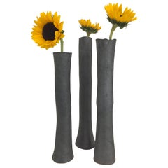 Tall Metallic Black Stoneware Vases '#3'
