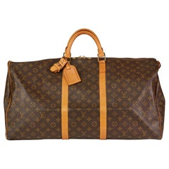 1988 Louis Vuitton Brown Monogram Coated Canvas, Leather Vintage Keepall 60