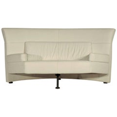 1988 Loveseat White Leather by Walter Leeman Memphis Style, Sormani, Italy