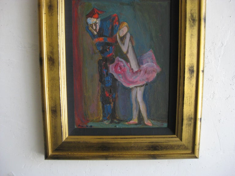 1988 Moisey Moses Alexandrovich Feigin Russian Listed Artist Cubist Oil Painting In Excellent Condition For Sale In San Diego, CA