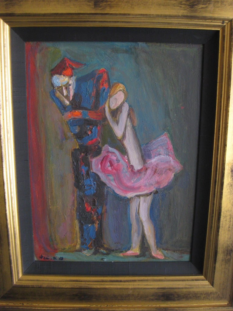20th Century 1988 Moisey Moses Alexandrovich Feigin Russian Listed Artist Cubist Oil Painting For Sale