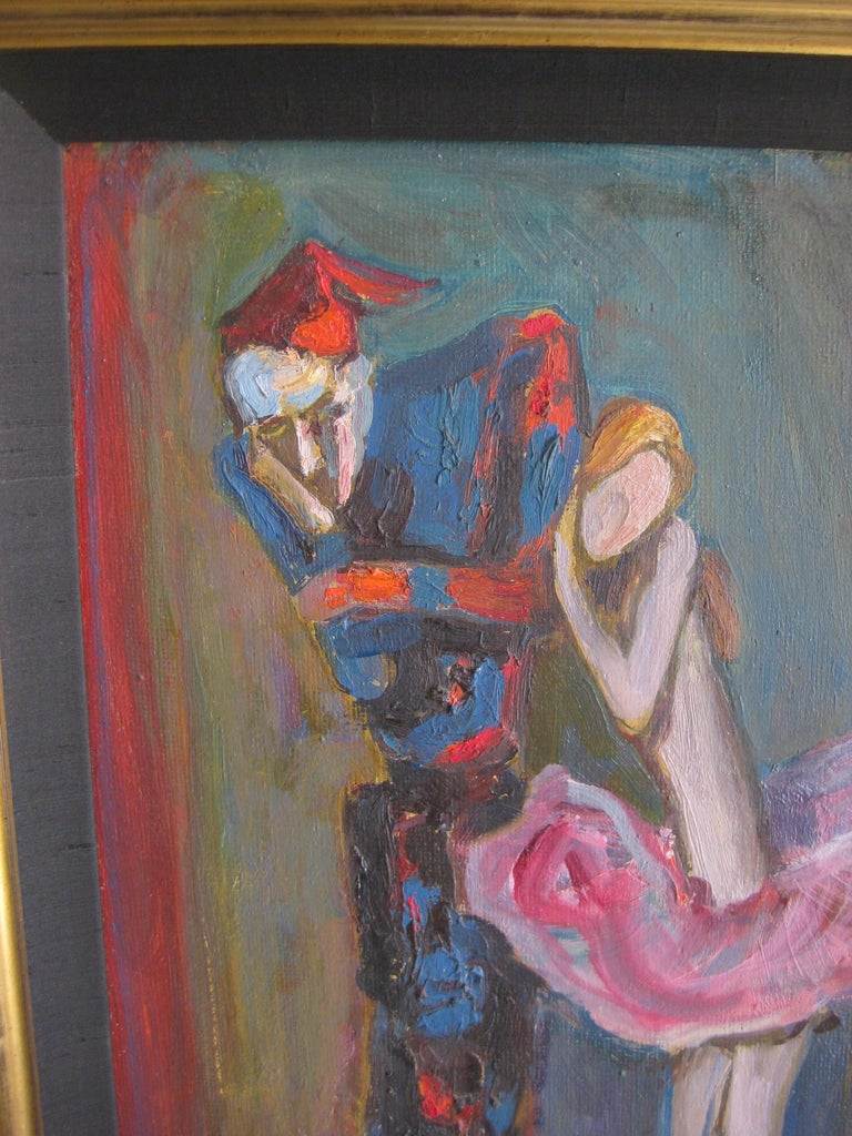 Other 1988 Moisey Moses Alexandrovich Feigin Russian Listed Artist Cubist Oil Painting For Sale