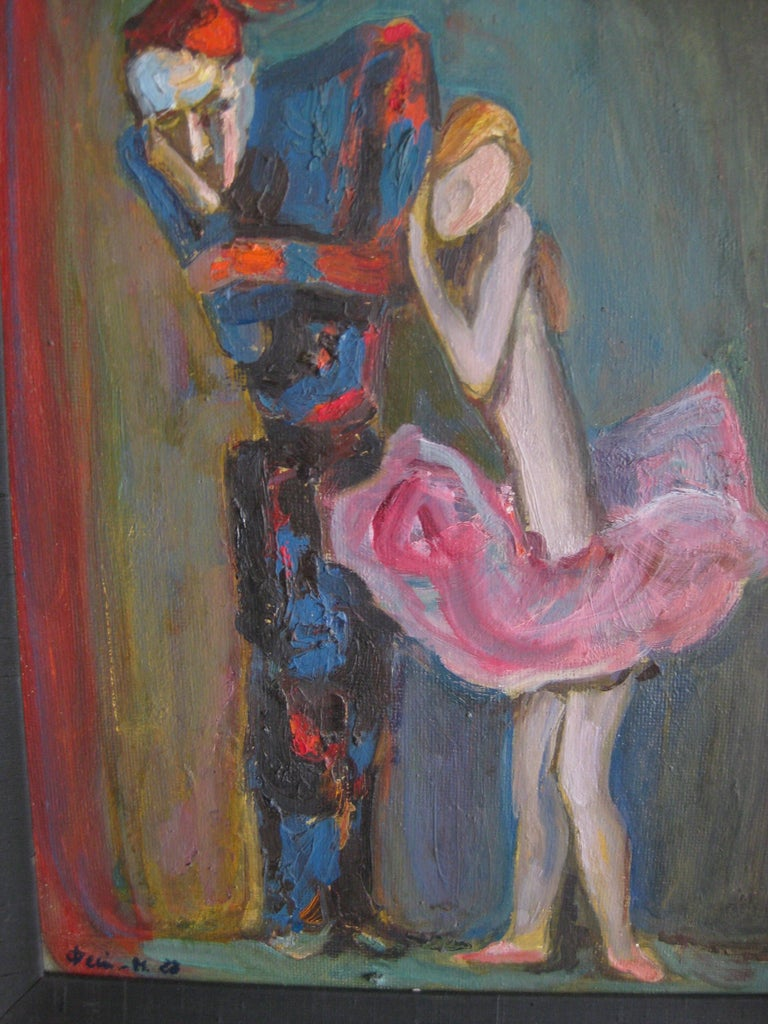 1988 Moisey Moses Alexandrovich Feigin Russian Listed Artist Cubist Oil Painting For Sale 1