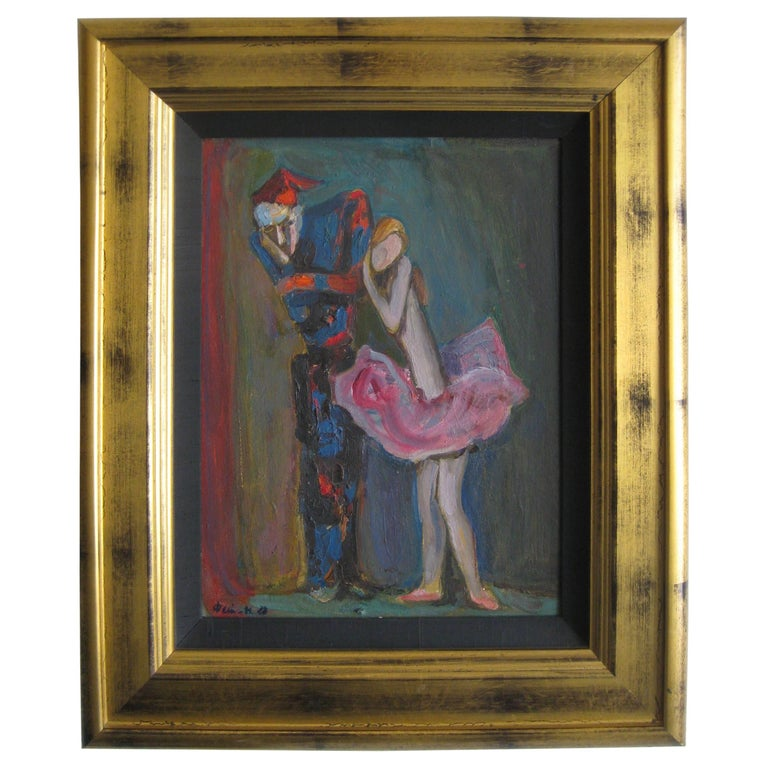 1988 Moisey Moses Alexandrovich Feigin Russian Listed Artist Cubist Oil Painting For Sale