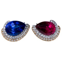 1988 Paul Binder, Rubellite, Tanzanite, Diamond and Gold Earclips