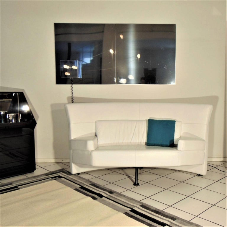 1988 Two-Seat White Leather Memphis Style by Walter Leeman, Sormani, Italy For Sale 8