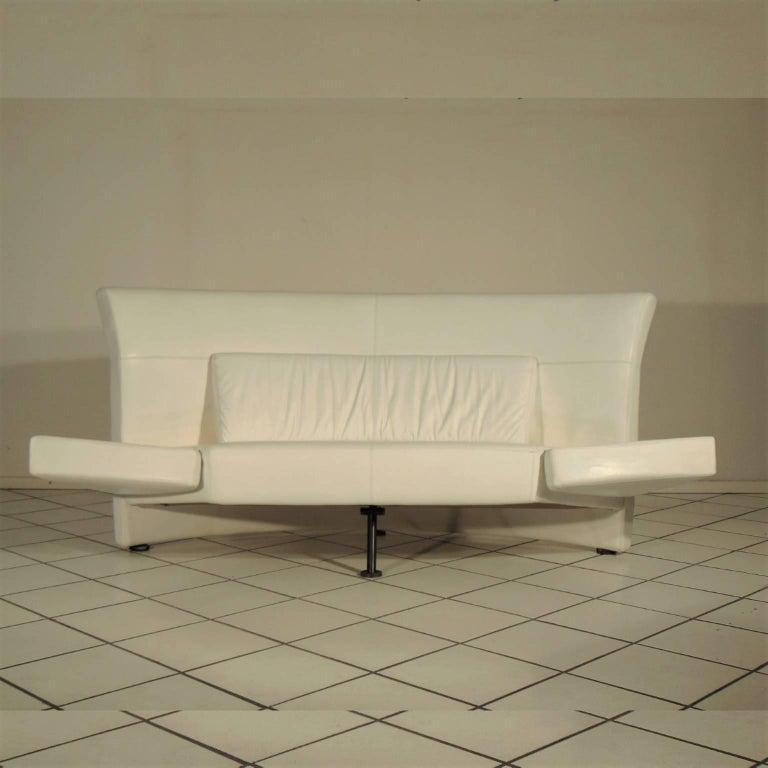 White leather two-seat sofa
