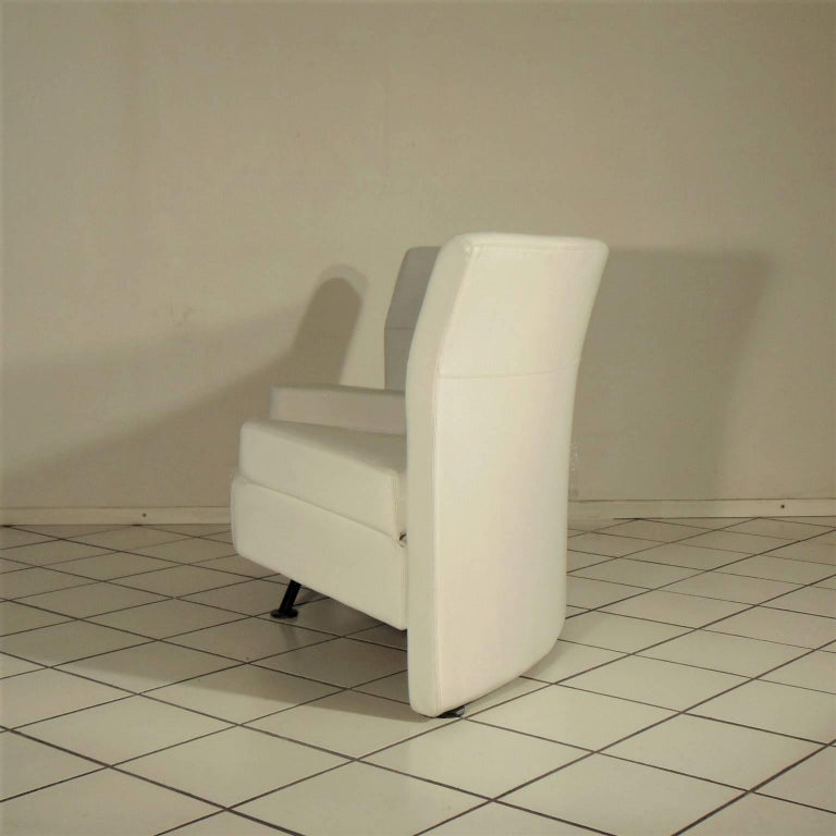Futurist 1988 Two-Seat White Leather Memphis Style by Walter Leeman, Sormani, Italy For Sale