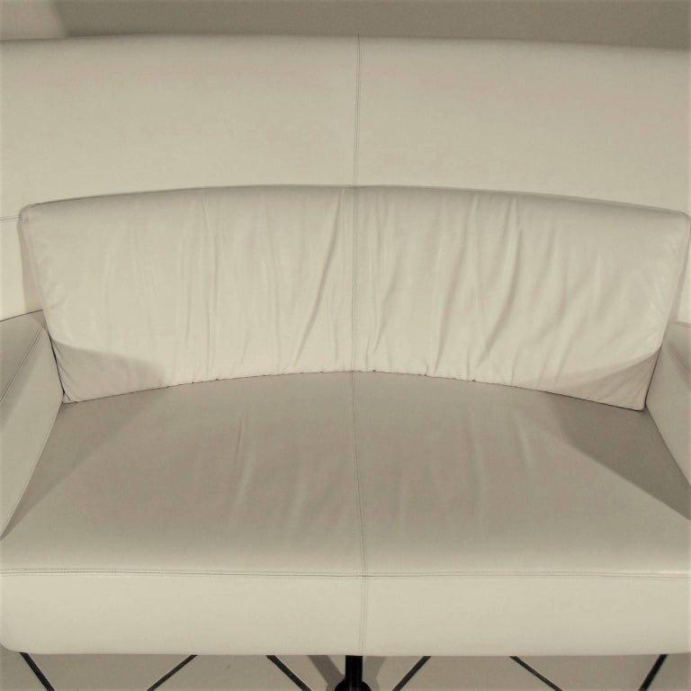 Bentwood 1988 Two-Seat White Leather Memphis Style by Walter Leeman, Sormani, Italy For Sale