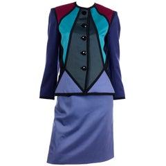 1988 Yves Saint Laurent Vintage Wool Color Block Runway Jacket W 2 Color Skirts