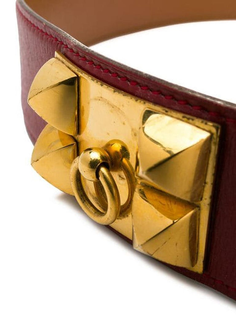 Orange 1988s Gorgeous Hermes Red Calfskin Leather Collier de Chien Medor Belt 75cm For Sale