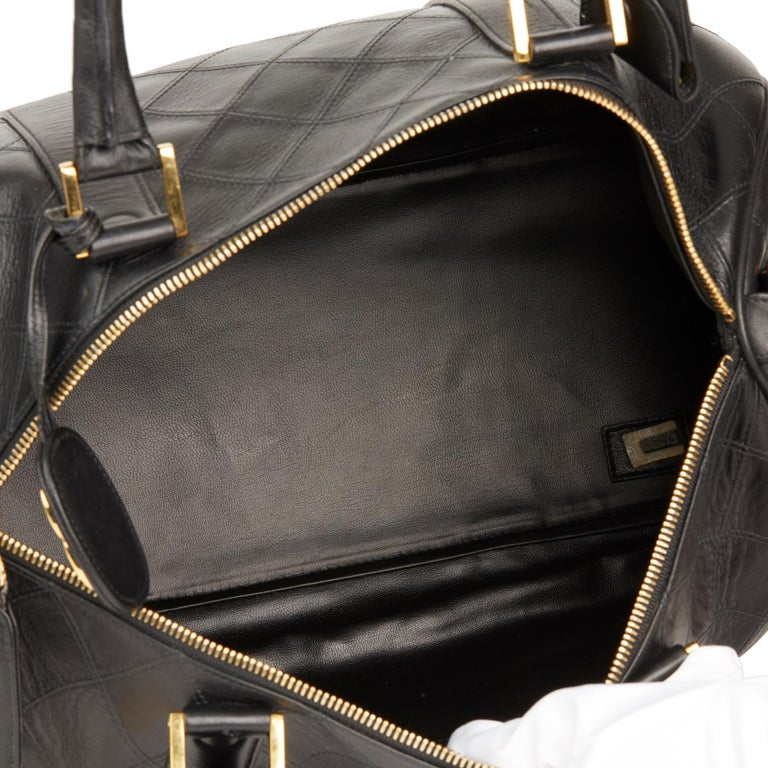 1989 Chanel Black Quilted Lambskin Vintage Boston 35 For Sale 6