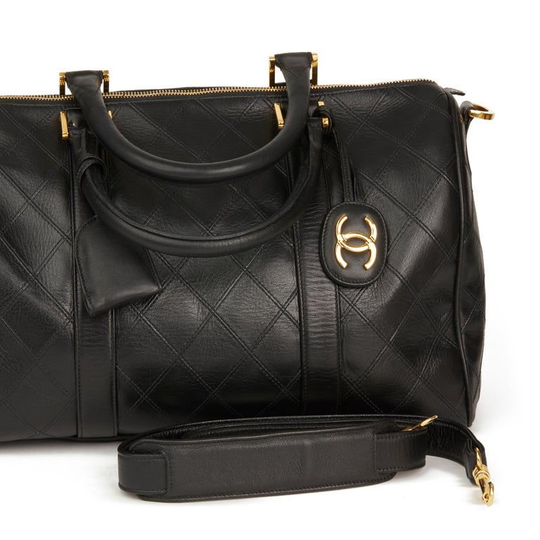 1989 Chanel Black Quilted Lambskin Vintage Boston 35 For Sale 7