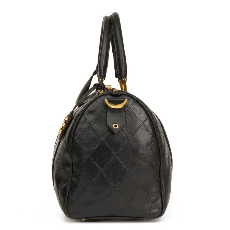 1989 Chanel Black Quilted Lambskin Vintage Boston 35 In Excellent Condition For Sale In Bishop's Stortford, Hertfordshire