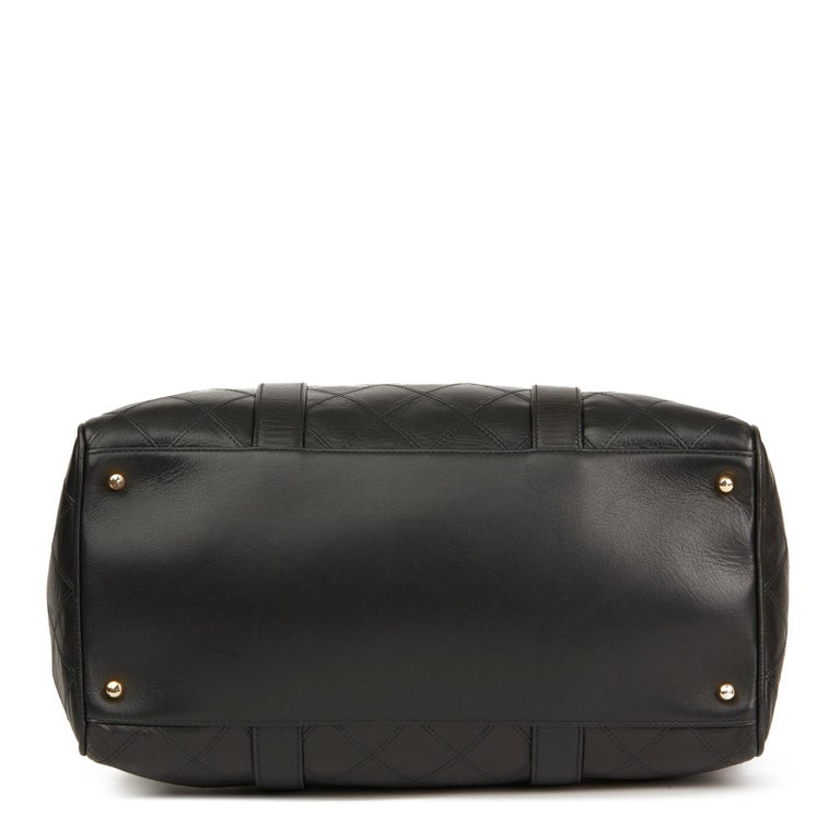1989 Chanel Black Quilted Lambskin Vintage Boston 35 For Sale 1