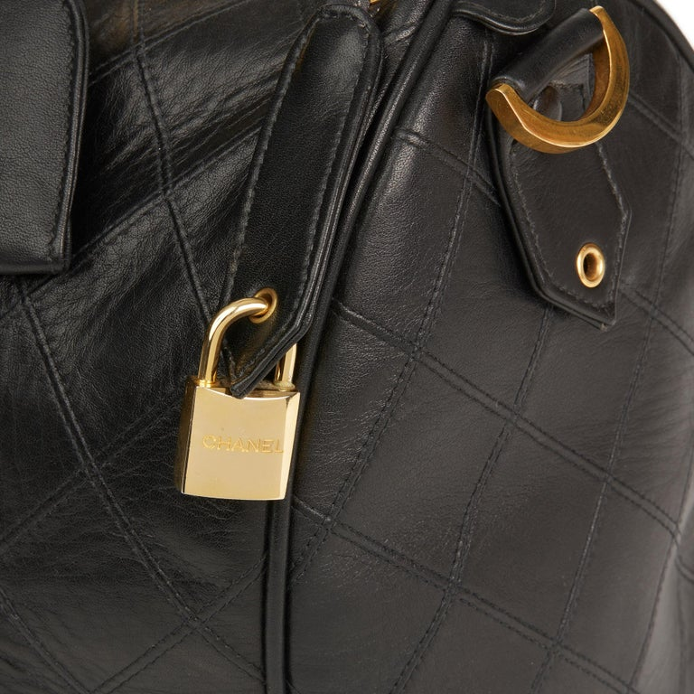 1989 Chanel Black Quilted Lambskin Vintage Boston 35 For Sale 3