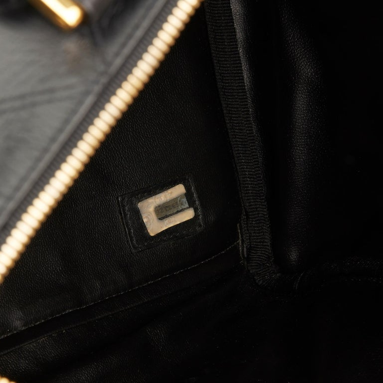 1989 Chanel Black Quilted Lambskin Vintage Boston 35 For Sale 5