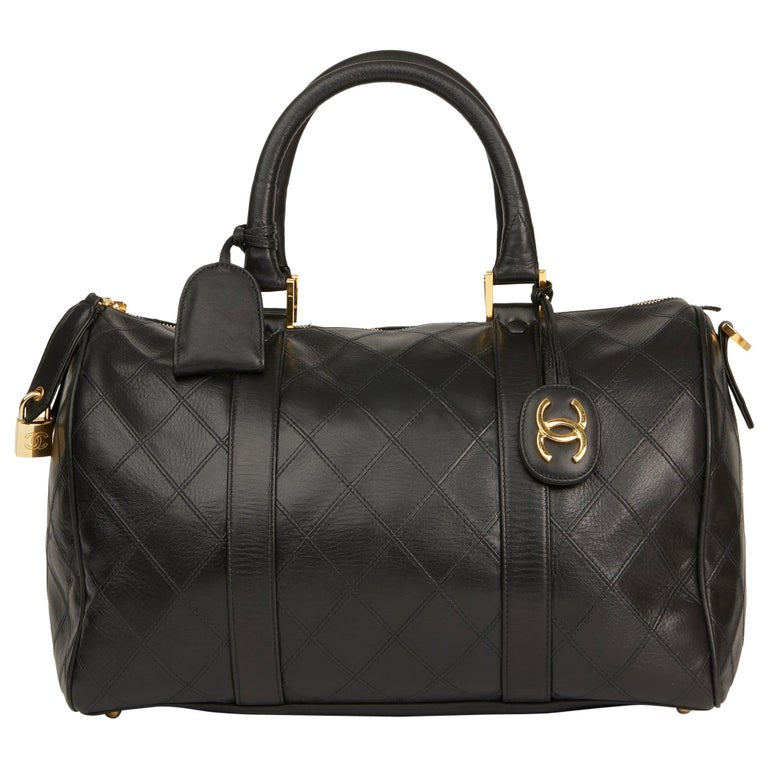 1989 Chanel Black Quilted Lambskin Vintage Boston 35 For Sale