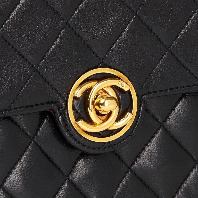 1989 Chanel Black Quilted Lambskin Vintage Classic Single Flap Bag  For Sale 1