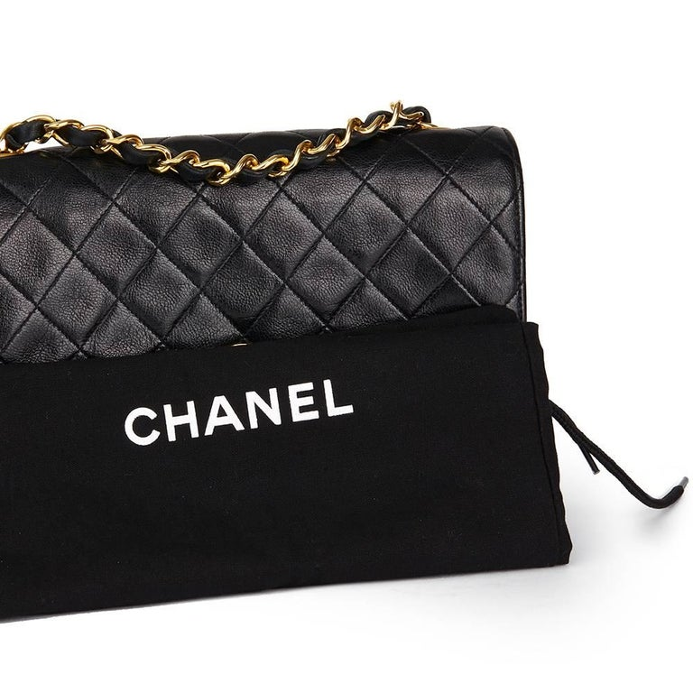 1989 Chanel Black Quilted Lambskin Vintage Classic Single Flap Bag  For Sale 5