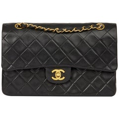 1989 Chanel Black Quilted Lambskin Vintage Medium Classic Double Flap Bag