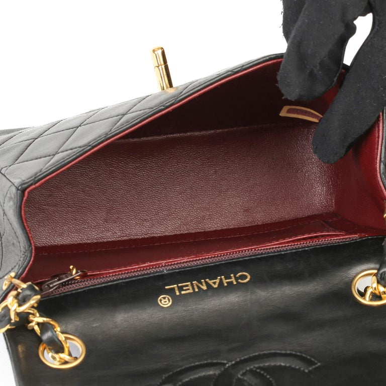 1989 Chanel Black Quilted Lambskin Vintage Mini Flap Bag  For Sale 7