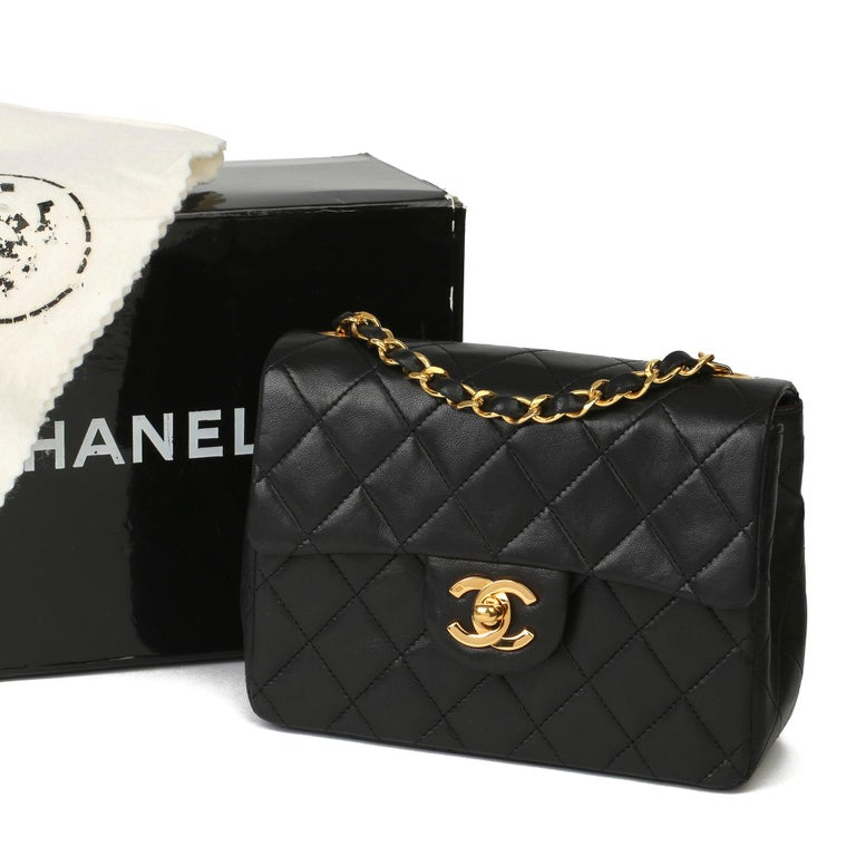 1989 Chanel Black Quilted Lambskin Vintage Mini Flap Bag  For Sale 8
